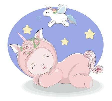 newborn sleeping girl or boy baby in unicorn plush Pajamas Sleepwear. Picture in hand drawing style for baby shower. Greeting card, party invitation, fashion clothes t-shirt print Vectores