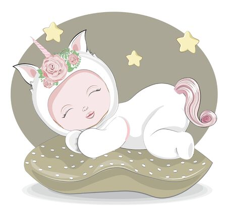 newborn sleeping girl or boy baby in unicorn plush Pajamas Sleepwear on pilow. Picture in hand drawing style for baby shower. Greeting card, party invitation, fashion clothes t-shirt print