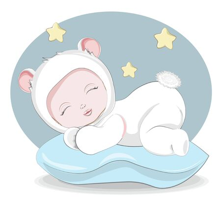newborn sleeping girl or boy baby in teddy bear plush Pajamas Sleepwear on pilow. Picture in hand drawing style for baby shower. Greeting card, party invitation, fashion clothes t-shirt print