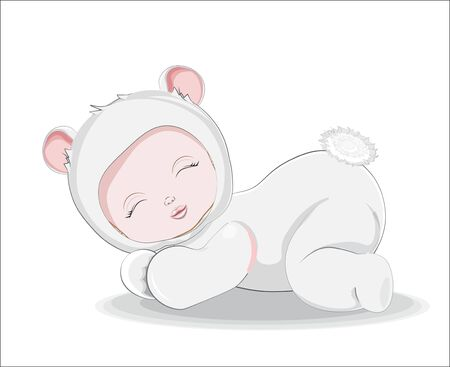 newborn sleeping girl or boy baby in teddy bear plush Pajamas Sleepwear on white bacground. Picture in hand drawing style for baby shower. Greeting card, party invitation, fashion clothes t-shirt print Ilustração