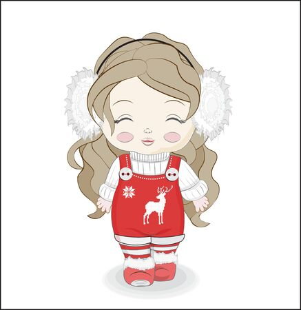 little baby girl In warm white sweater, shoes, striped tights and headphones. Picture in hand drawing cartoon style, for Christmas or New year greeting card, party invitation.