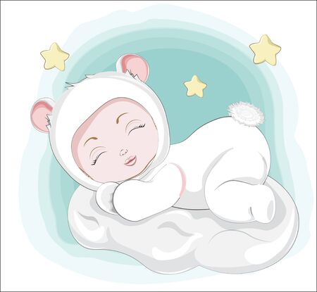 newborn sleeping girl or boy baby in teddy bear plush Pajamas Sleepwear on cloud. Picture in hand drawing style for baby shower. Greeting card, party invitation, fashion clothes t-shirt print Иллюстрация