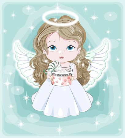 beautiful, charming little baby angel, in white dress with gift. Picture in hand drawing cartoon cute style, for Christmas and New year. Holiday Greeting card. postcard. party invitation.