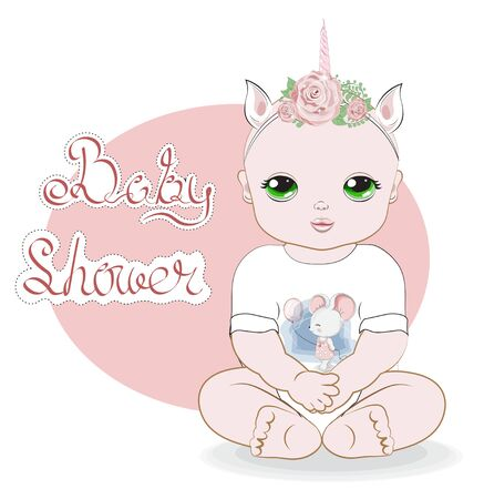 baby girl with green eyes, sits in a white. Bodysuit with mouse print, Picture in hand drawing style for baby shower. Greeting card, party invitation, fashion clothes t-shirt print