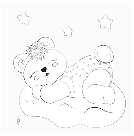 Coloring book sleeping girl baby teddy bear on cloud with flower. Picture in hand drawing style for baby shower. Greeting card, party invitation, fashion clothes t-shirt print