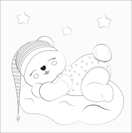 Coloring book sleeping boy baby teddy bear on cloud in striped cap. Picture in hand drawing style for baby shower. Greeting card, party invitation, fashion clothes t-shirt print