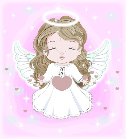 beautiful, charming little baby angel, in white dress with hearts. Picture in hand drawing cartoon cute style, for Christmas and New year. Valentines day. Holiday Greeting card. postcard. party invitation.