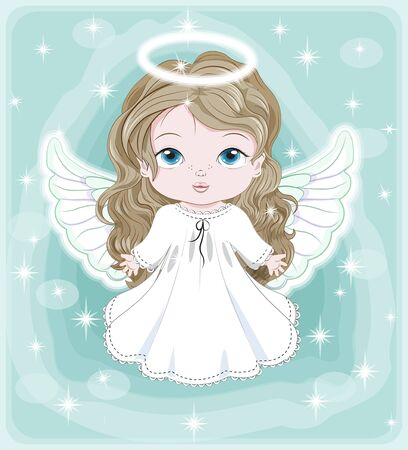beautiful, charming little baby angel, in white dress. Picture in hand drawing cartoon cute style, for Christmas and New year. Holiday Greeting card. postcard. party invitation.