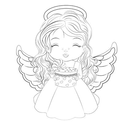 Coloring book, beautiful little baby girl, Christmas angel, in white dress with gift. Picture in hand drawing style for Happy new year Greeting card, party invitation, fashion clothes t-shirt print