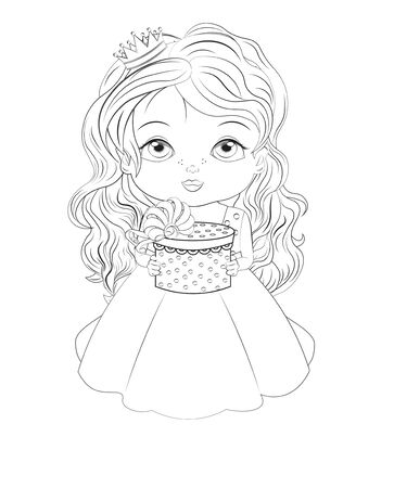 Coloring book little princess baby girl In ball dress. in crown. wiht gift. Picture in hand drawing style for baby shower. Greeting card, party invitation, fashion clothes t-shirt print