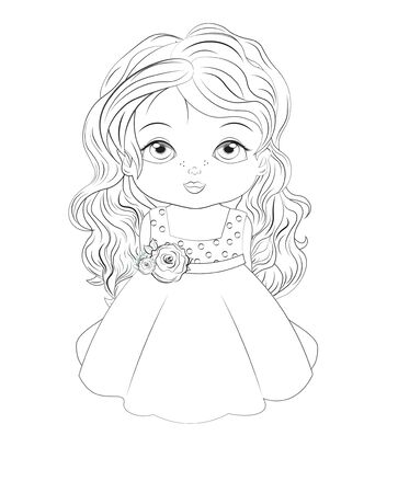 Coloring book little princess baby girl In pink ball dress decorated with flowers. Picture in hand drawing style for baby shower. Greeting card, party invitation, fashion clothes t-shirt print Ilustração