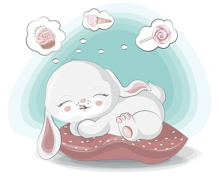 Sweet dreams little sweet teeth, white bunny. hare. rabbit girl, about ice cream, cupcake and lollipop.
