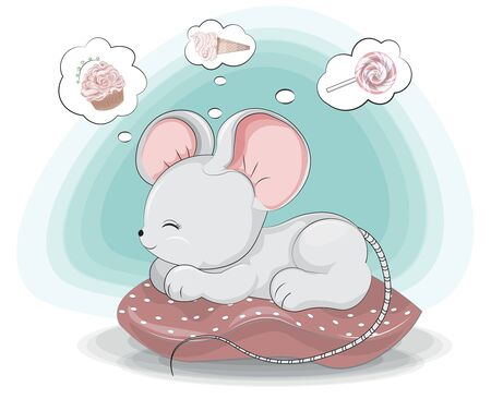 Sweet dreams little sweet teeth, white mouse. rat girl, about ice cream, cupcake and lollipop. Picture in hand drawing style for baby shower. Greeting card, party invitation, fashion clothes t-shirt print