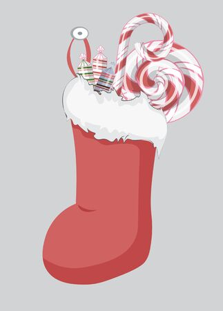 Christmas sock with candy. lollipop. sweet. Picture in hand drawing cartoon style, for Christmas or New year greeting card, party invitation Ilustração