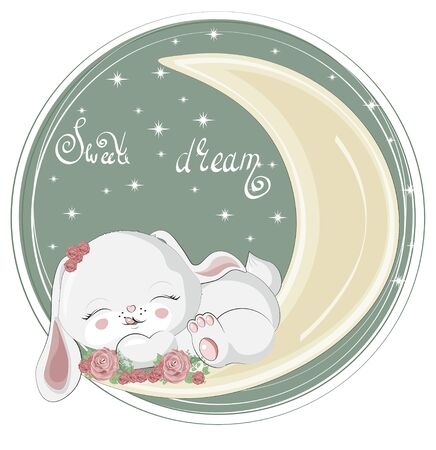 isolated sleepping baby girl bunny. hare, rabbit in roses flowers, on moon. Picture in hand drawing cartoon style, for t-shirt wear print, fashion design, greeting card, party invitation