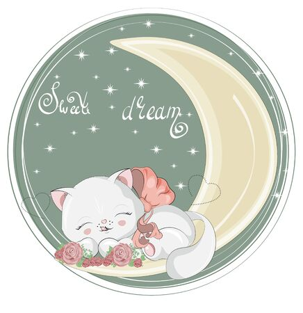 isolated sleepping baby girl cat. kitten in roses flowers, on moon. Picture in hand drawing cartoon style, for t-shirt wear print, fashion design, greeting card, party invitation