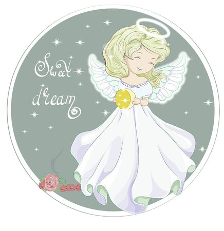 Beautiful blonde angel, holding moon, in night star sky, wishing sweet dreams. Picture in hand drawing cartoon style, for t-shirt wear print, fashion design, greeting card, party invitation