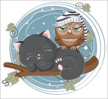 isolated sleepping black cat and owl in striped cap , little kitten in branch. Picture in hand drawing cartoon style, for t-shirt wear print, fashion design, greeting card, party invitation