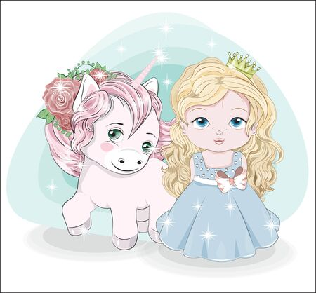 baby little princess, with long blonde hair. crown. in blue ball dress and cute unicorn. Picture in hand drawing style, for Happy birthday greeting card, postcard. party invitation. Ilustração