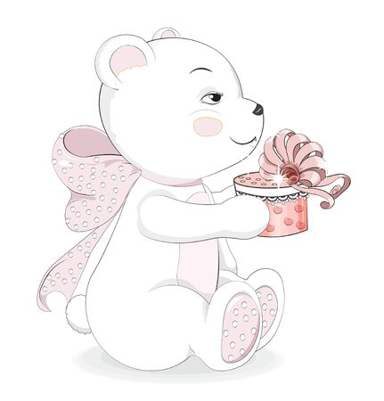 Lovely polar Teddy Bear with a gift and a pink bow. Picture in hand drawing cartoon style, for t-shirt wear fashion print design, greeting Happy birthday card, postcard. baby shower. party invitation.