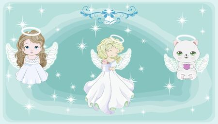 baby little angels set, girls and cat with wungs. Picture in hand drawing style, for Happy birthday. christmas, new year greeting card, postcard. party invitation. stickers Stock Illustratie