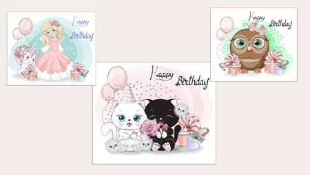 Happy Birthday cute set, stickers collection. Picture in hand drawing cartoon style, for t-shirt wear fashion print design, greeting card, postcard. baby shower. party invitation. Ilustração