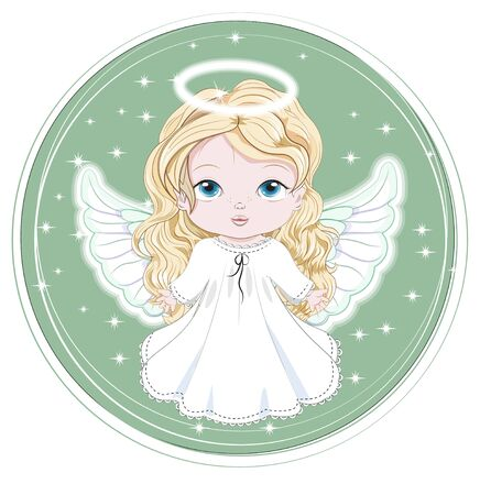 angel baby girl. in night sky. Picture in hand drawing cartoon style, for t-shirt wear print, fashion design, greeting card, party invitation Archivio Fotografico - 134979026