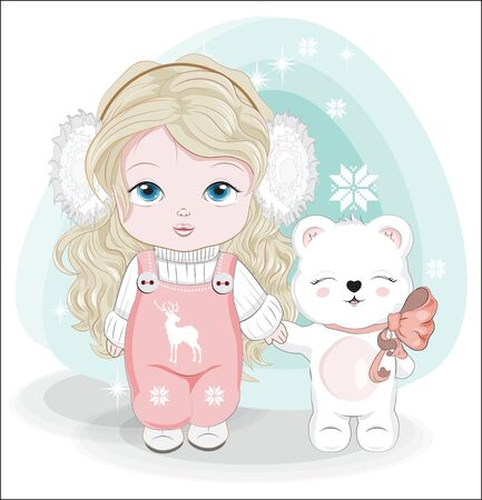 baby little girl, with long hair. headphones. in pink overalls and cute Teddy bear. Picture in hand drawing style, for winter Happy birthday greeting card, postcard. party invitation.