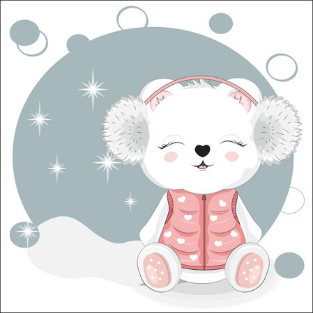 cute white Teddy bear in winter headphones . Picture in hand drawing style, for winter Happy birthday greeting card, postcard. party invitation. t-shirt wear fashion print design.