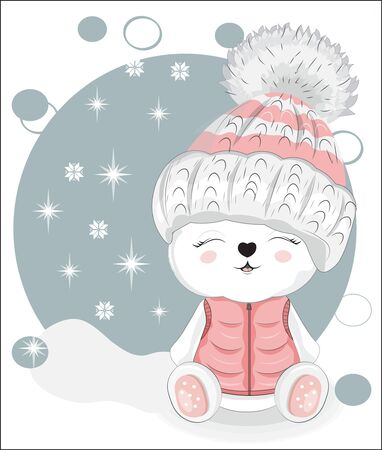 cute white in Teddy bear winter hat. Picture in hand drawing style, for winter Happy birthday greeting card, postcard. party invitation. t-shirt wear fashion print design.