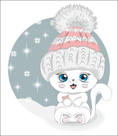 cute white cat in winter hat. Picture in hand drawing style, for winter Happy birthday greeting card, postcard. party invitation. t-shirt wear fashion print design. Ilustração