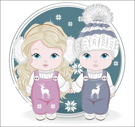 couple twins Baby boy and girl. Picture in hand drawing style, for winter Happy birthday greeting card, postcard. party invitation.