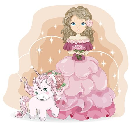 Rose flower beautiful princess in pink dress with bouquet and unicorn. Picture in hand drawing style, for print shop. t-shirt wear fashion design, greeting birthday card, postcard. party invitation.