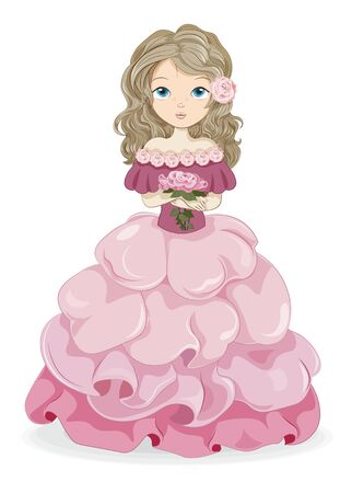 Rose flower beautiful princess in pink dress with bouquet. Picture in hand drawing cartoon style, for print shop. t-shirt wear fashion design, greeting btrthday card, postcard. party invitation. Ilustração