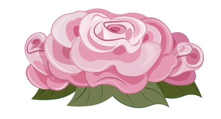 beautiful drawn vector pink rose, with green leaves. Picture in hand drawing cartoon style, for t-shirt wear fashion print design, greeting card, postcard. baby shower. party invitation.  Ilustração