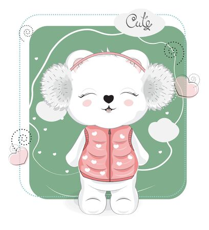 Cute drawn winter baby Teddy bear, in headphones. Picture in hand drawing cartoon style, for t-shirt wear fashion print design, greeting card, postcard. baby shower. party invitation.