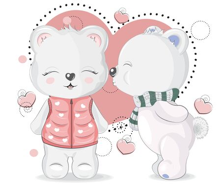 Couple cute teddy bowls boy and girl in love. Valentines Day card. Picture in hand drawing cartoon style, for printshop. t-shirt wear fashion print design, greeting card, postcard. party invitation Vettoriali