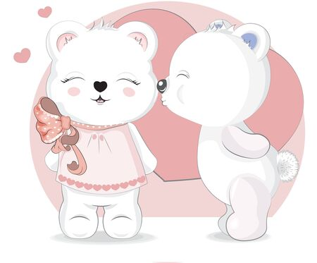 White Girl  and boy Teddy Bears Valentines in Hearts, adorable cute love symbol. Picture in hand drawing cartoon style, for t-shirt wear fashion print design, greeting. Valentines Day card, party invitation.