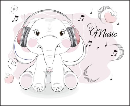 lovely drawn baby elephant calf, in earphones and notes. Picture in hand drawing style for baby shower. Greeting card, party invitation, fashion clothes t-shirt print