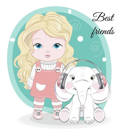 Best friends baby little girl, with long hair in pink overalls and cute elephant in headphones. Picture in hand drawing style, for winter Happy birthday greeting card, postcard. party invitation.