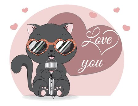 Black cat in sunglasses, adorable cute love symbol. Picture in hand drawing cartoon style, for t-shirt wear fashion print design, greeting. Valentine Day card, party invitation.