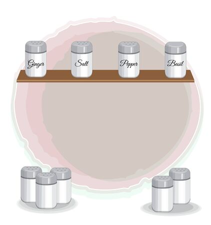 shelf with spices banks: Salt, pepper, basil, ginger. Picture in hand drawing cartoon style, menu, kitchen background.  Ilustração