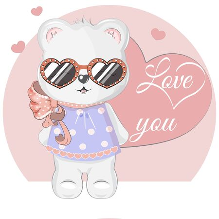 White Girl Teddy Bear in sunglasses, adorable cute love symbol. Picture in hand drawing cartoon style, for t-shirt wear fashion print design, greeting. Valentine Day card, party invitation.  Ilustração