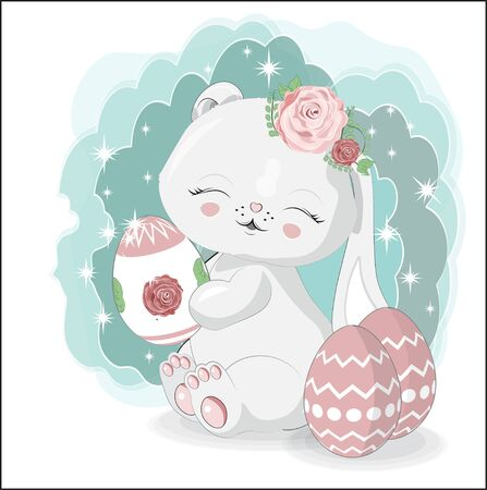 lovely Ester white honey baby bunny, rabbit, with egg. Picture in hand drawing cartoon style, for t-shirt wear fashion print design, greeting card, postcard  party invitation.  Ilustração