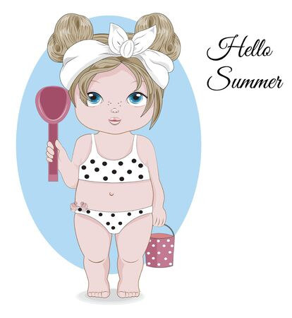 Hello summer baby girl in Swimsuit. Picture in hand drawing cartoon style, for greeting card, postcard. baby shower. party invitation.                    Ilustração