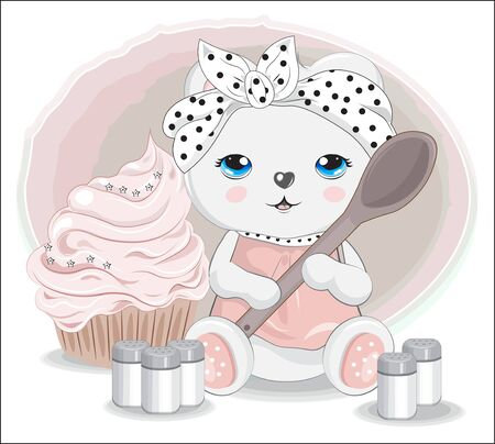 cook Teddy bear with spoon. spices and cupcake. Picture in hand drawing cartoon style, for t-shirt wear fashion print design, greeting card, postcard. baby shower. party invitation.