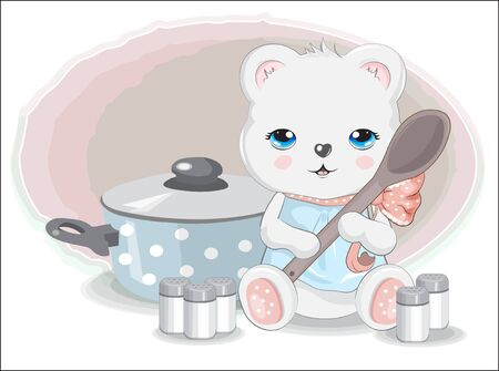 cook Teddy bear with spoon. spices and pan. Picture in hand drawing cartoon style, for t-shirt wear fashion print design, greeting card, postcard. baby shower. party invitation.