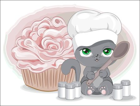 cook cat in cap with spoon. spices and cupcake. Picture in hand drawing cartoon style, for t-shirt wear fashion print design, greeting card, postcard. baby shower. party invitation.