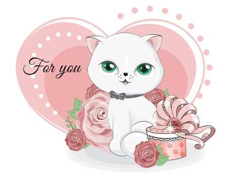 valentine white cat boy with heart and gifts in roses.  Picture in hand drawing cartoon style, for t-shirt wear fashion print design, valentine greeting card, postcard. party invitation.