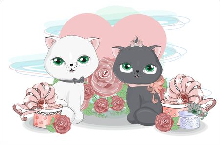 valentine cute two cats Couple, boy and girl, with heart and gifts in roses.  Picture in hand drawing cartoon style, for t-shirt wear fashion print design, valentine greeting card, postcard. party invitation. Ilustração